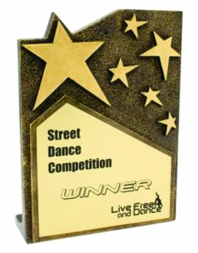 Star Cross Resin Gold Plaque 195mm