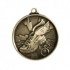 Athletics Heavy Two Tone Medal - Silver