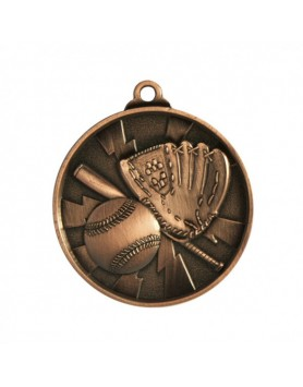 Baseball/Softball Heavy Two Tone Medal 50mm - Bronze