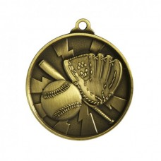 Baseball/Softball Heavy Two Tone Medal 50mm - Gold