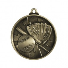 Baseball/Softball Heavy Two Tone Medal 50mm - Silver