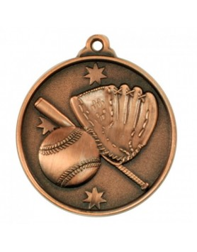 Baseball/Softball Heavy Stars Medal 50mm - Bronze