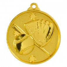 Baseball/Softball Heavy Stars Medal 50mm - Gold