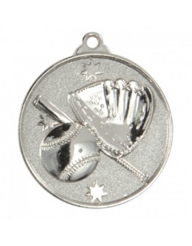 Baseball/Softball Heavy Stars Medal 50mm - Silver