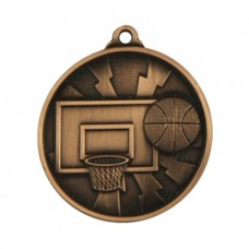 Basketball Heavy Two Tone Medal 50mm - Bronze