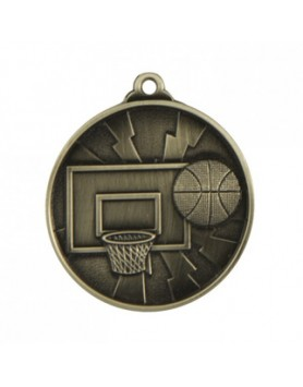 Basketball Heavy Two Tone Medal 50mm - Silver