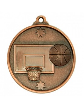Basketball Heavy Stars Medal 50mm - Bronze