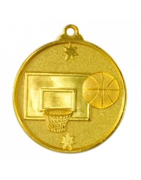 Basketball Heavy Stars Medal 50mm - Gold