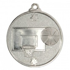 Basketball Heavy Stars Medal 50mm - Silver