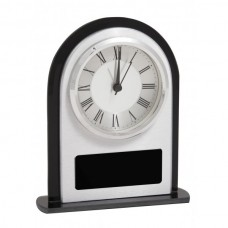 Clock Domed Frosted Glass/Black 165mm