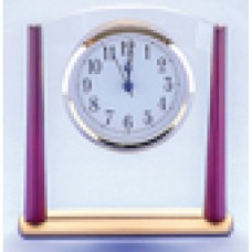 Clock Clear Glass with Rosewood Trim 160mm