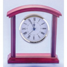 Clock Clear Glass with Rosewood Trim 180mm
