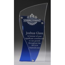 Acrylic 15mm Blue Award with 5mm Acrylic Clear Front 190mm