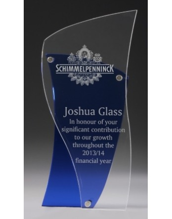 Acrylic 15mm Blue Award with 5mm Acrylic Clear Front 250mm