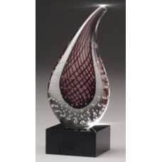 Art Glass Plum Red Teardrop on Crystal Base 210mm