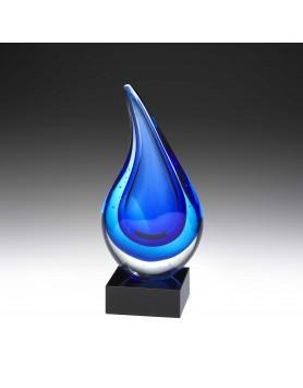 Art Glass Blue Cloudburst Teardrop on Black Base 255mm