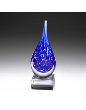 Art Glass Storm Teardrop on Crystal Base 250mm
