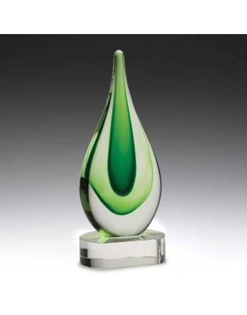 Art Glass Earth Green Teardrop on Crystal Base 235mm