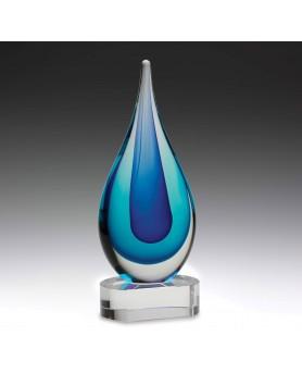 Art Glass Ocean Blue Teardrop on Crystal Base 235mm