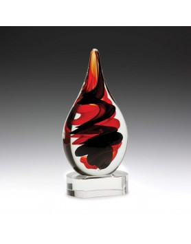 Art Glass Red & Black on Clear Base 220mm
