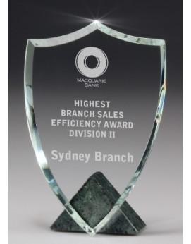 Crystal/Jade Marble Shield Award 180mm