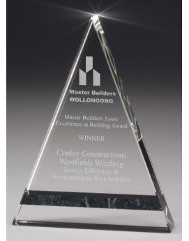 Crystal/Jade Marble Pyramid Award 200mm