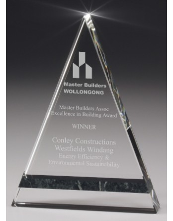 Crystal/Jade Marble Pyramid Award 200mm