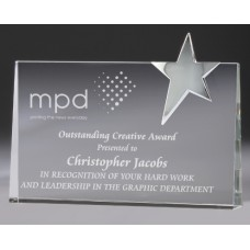 Crystal 40mm Tapered Award with Chrome Star 150mm