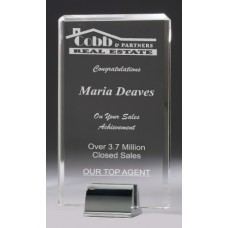Crystal 20mm Award with Chrome Base 210mm