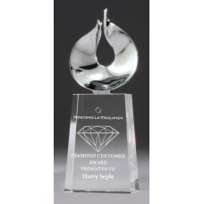 Crystal 50mm Tapered Award with Chrome Figure 200mm