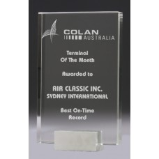Crystal 30mm Condor Award with Chrome Base 215mm