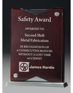 Glass Award with Timber Plaque on a Metal Base 200mm