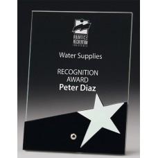 Glass Silver Star Award Black Trim 180mm