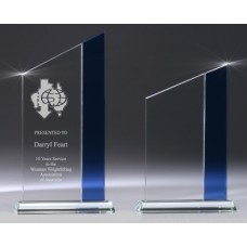 Glass Budget Peak Award with Blue Trim 205mm