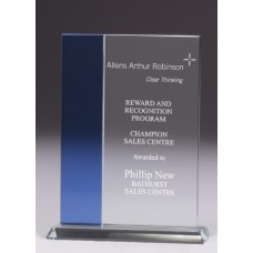 Glass Budget Panel Award with Blue Trim 165mm