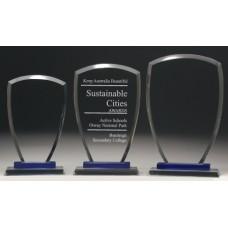 Glass Shield Award with Blue Trim 185mm