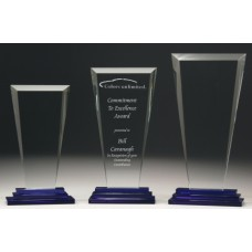 Glass Tiered Award with Blue Trim 200mm