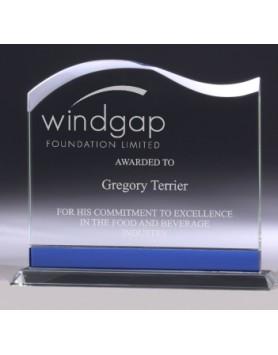 Glass Wave Award Blue Trim 180mm