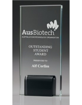 Glass Modern Award with Black Stand 135mm
