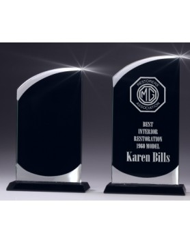 Glass Swerve Award with Black Panel 180mm