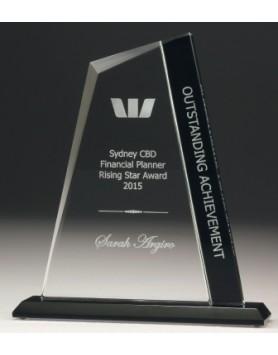 Glass Peak Award with Black Panel 180mm