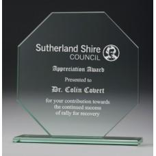 Jade Glass Hexagonal Award 110mm