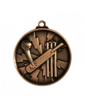 Cricket Heavy Two Tone Medal 50mm - Bronze
