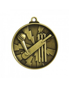 Cricket Heavy Two Tone Medal 50mm - Gold