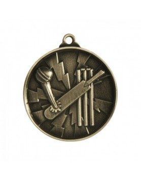 Cricket Heavy Two Tone Medal 50mm - Silver