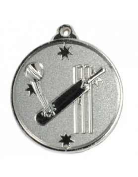 Cricket Heavy Stars Medal 50mm - Silver