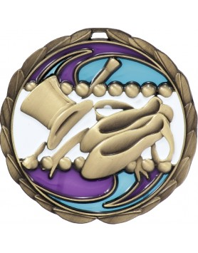 Medal - Dance Gold Stained Glass 65mm