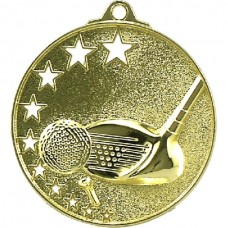 Golf Medal Stars Gold 52mm