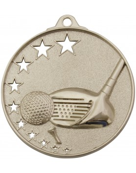 Golf Medal Stars Silver 52mm