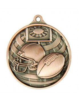 Medal - Two Tone Gridiron Bronze 50mm